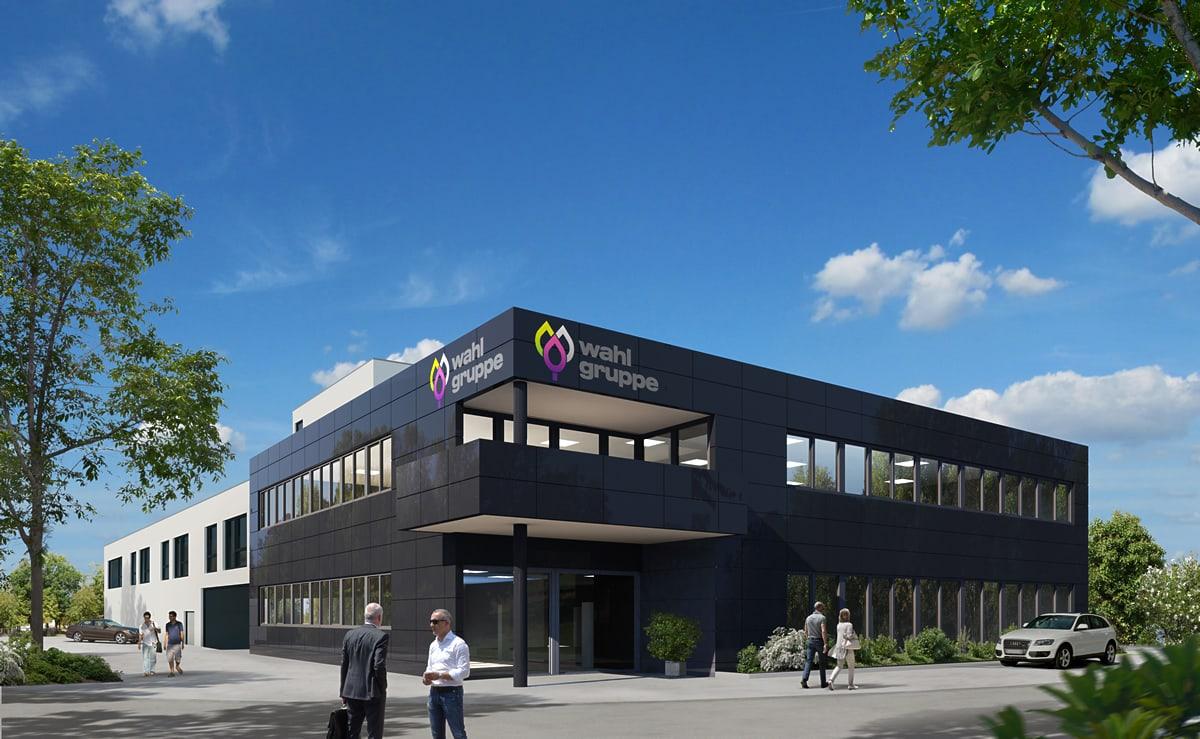 Bürogebäude mit Lagerhalle 2017 - Visualisierung