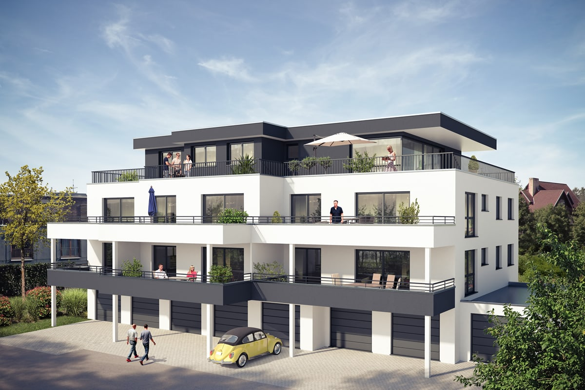 Mehrfamilienhaus mit Garagen