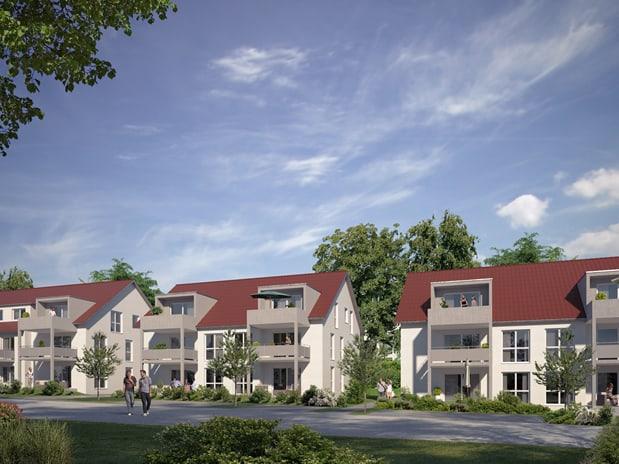 4 Mehrfamilienhäuser mit Büros und Tiefgarage